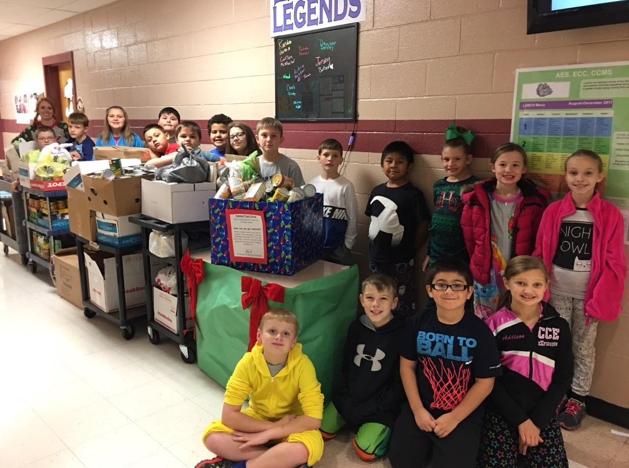AES collected over 1,000 cans of food during their schoolwide canned food drive!