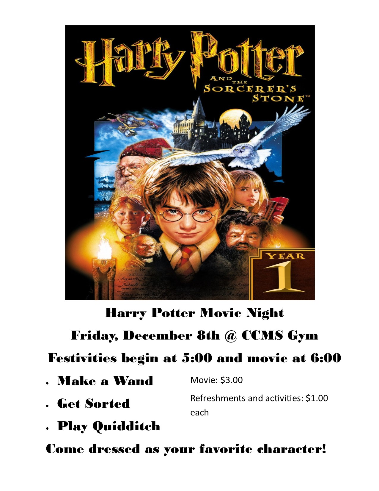 Join us for Harry Potter Movie Night on Friday at CCMS!
