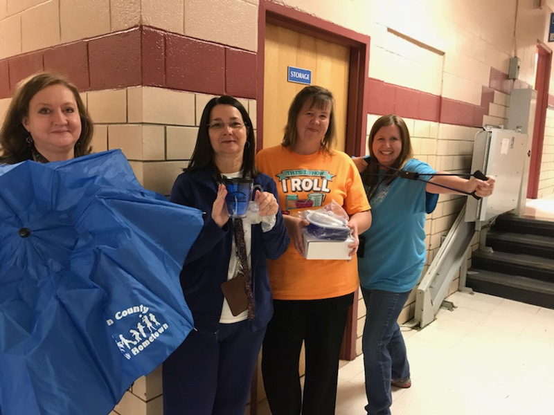 Clinton County Healthy Hometown recently awarded prizes to faculty and staff Be Active Club members for the second 9-weeks.