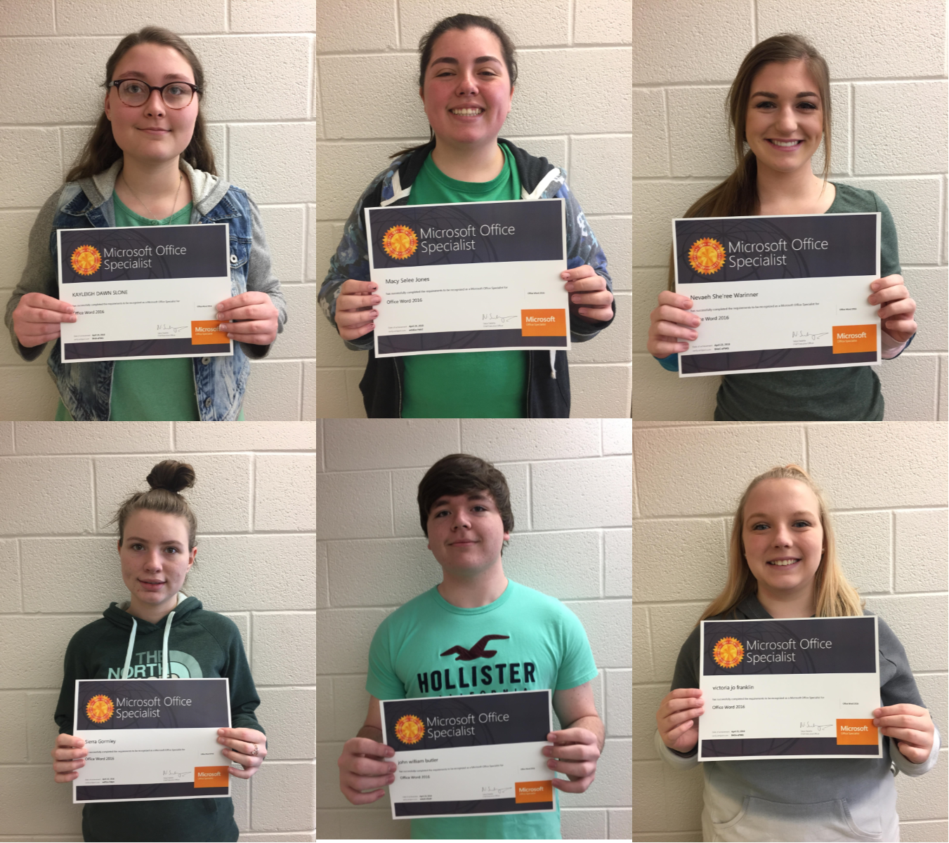 Fifteen students passed Microsoft Office Specialist (MOS) certifications in Access, Word, and PowerPoint since March at Clinton County Area Technology Center.