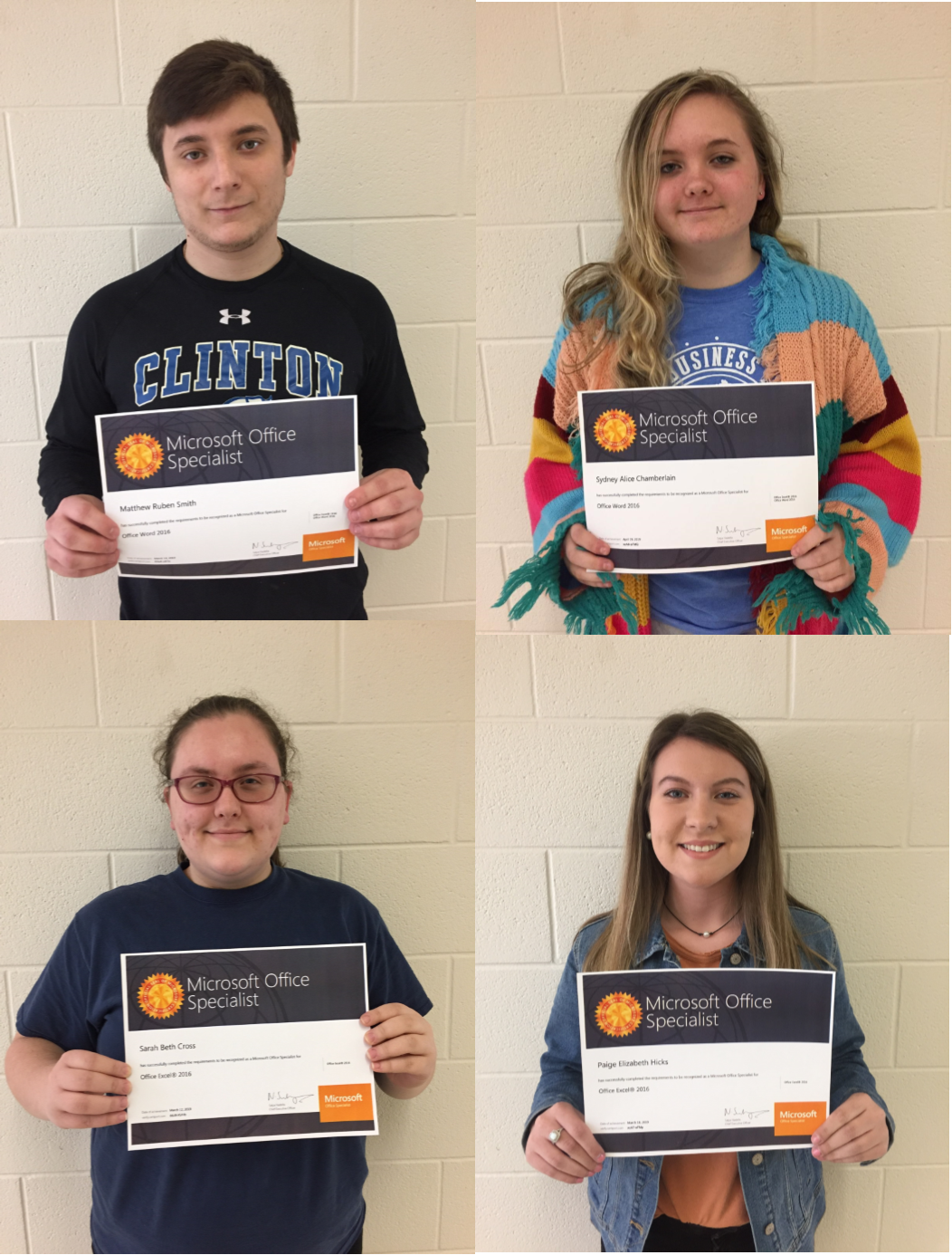 The spring semester concludes with four more students passing Microsoft Office Specialist (MOS) certifications in Word, Excel, and PowerPoint at Clinton County Area Technology Center.