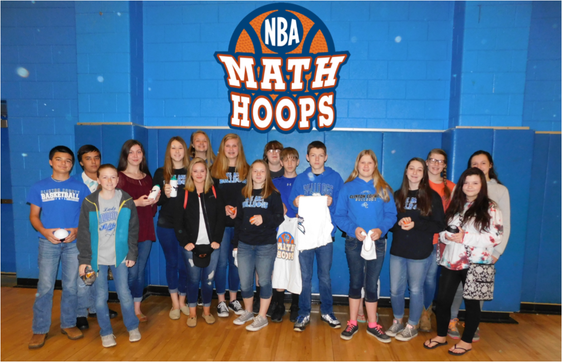 Students at Clinton County Middle School were recently awarded basketballs, t-shirts, and hats for their participation in the NBA Math Hoops program.