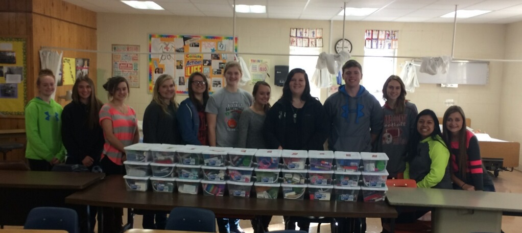 HOSA and FBLA students at Clinton County Area Technology Center collected items and filled thirty-one shoe boxes for Operation Christmas Child.