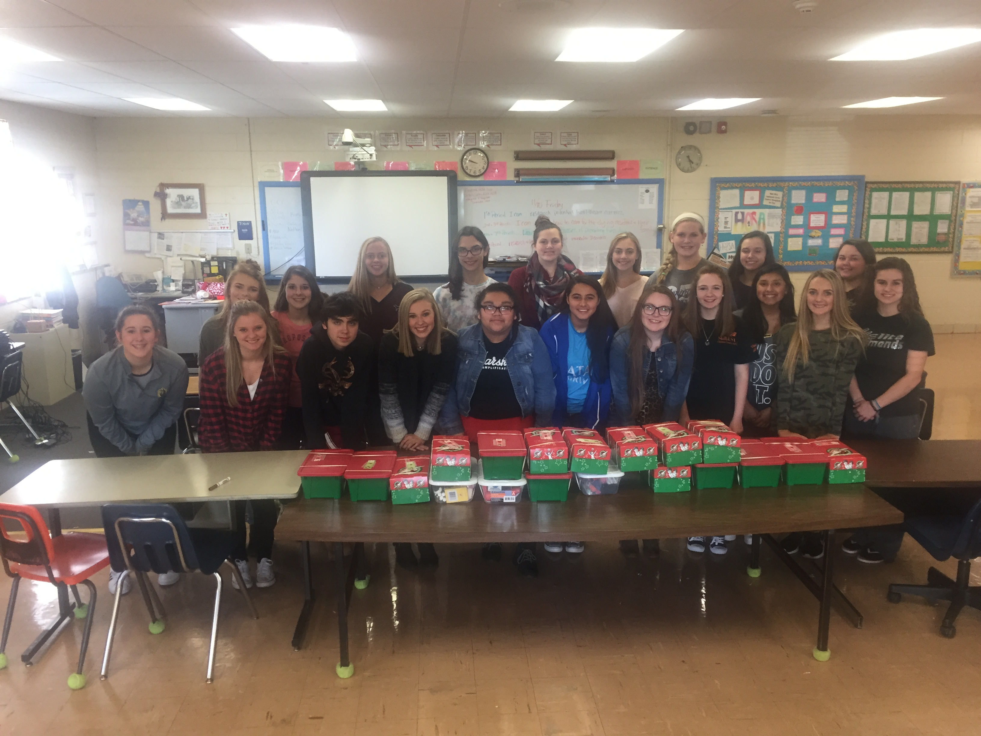 The HOSA students at Clinton County Area Technology Center collected items for Operation Christmas Child and packed 19 shoeboxes.