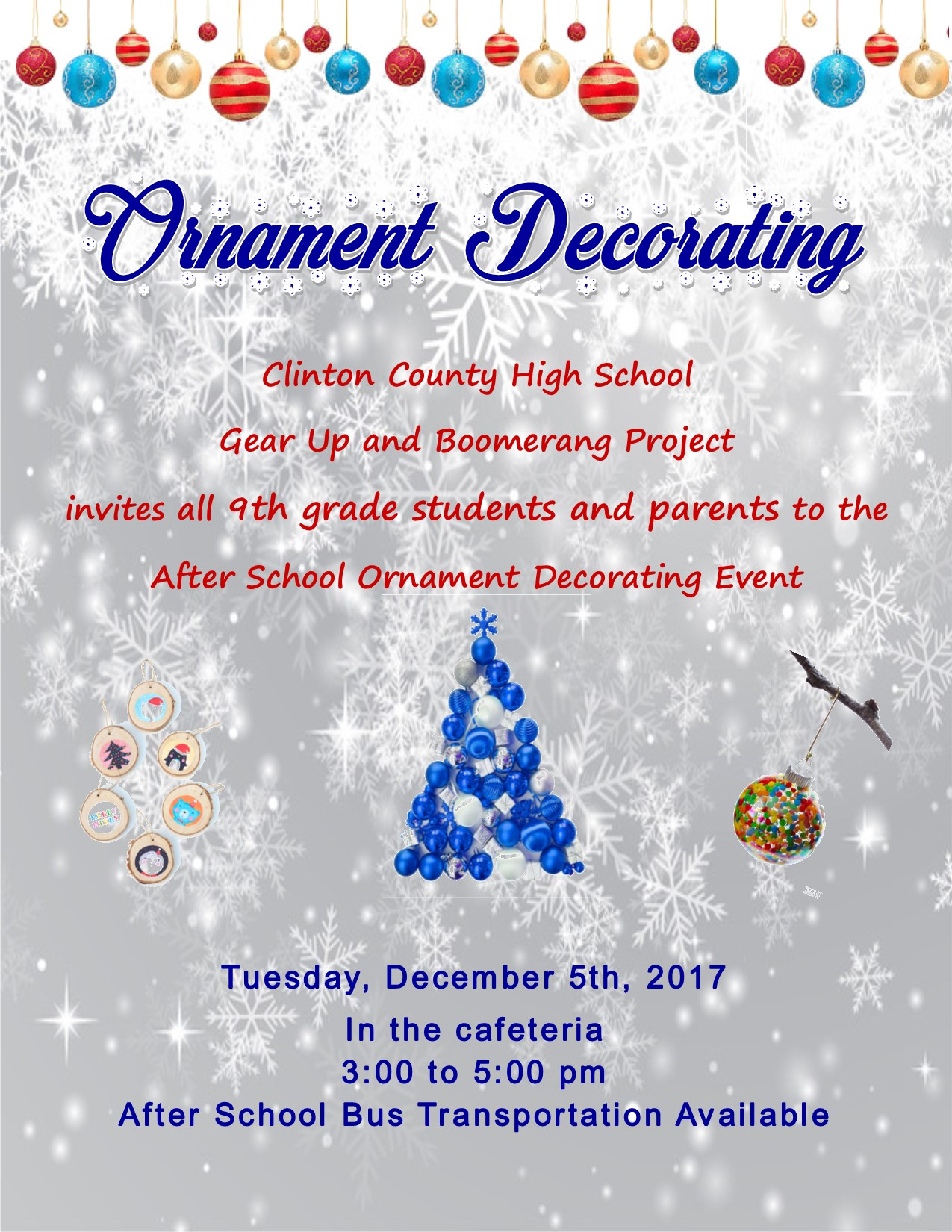 All 9th grade students and parents are invited to an after-school ornament decorating event on December 5th.
