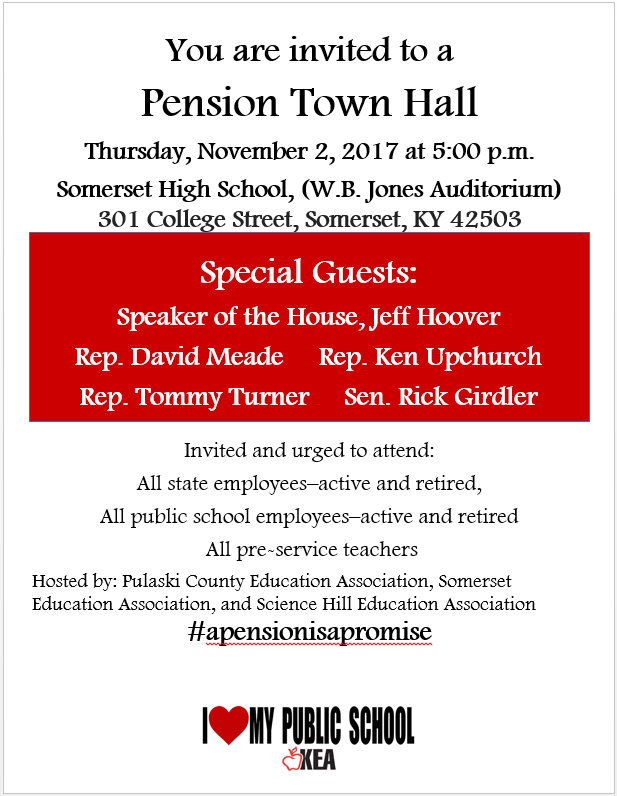 A Pension Town Hall will be held on Thursday, November 2, 2017 at Somerset High School.