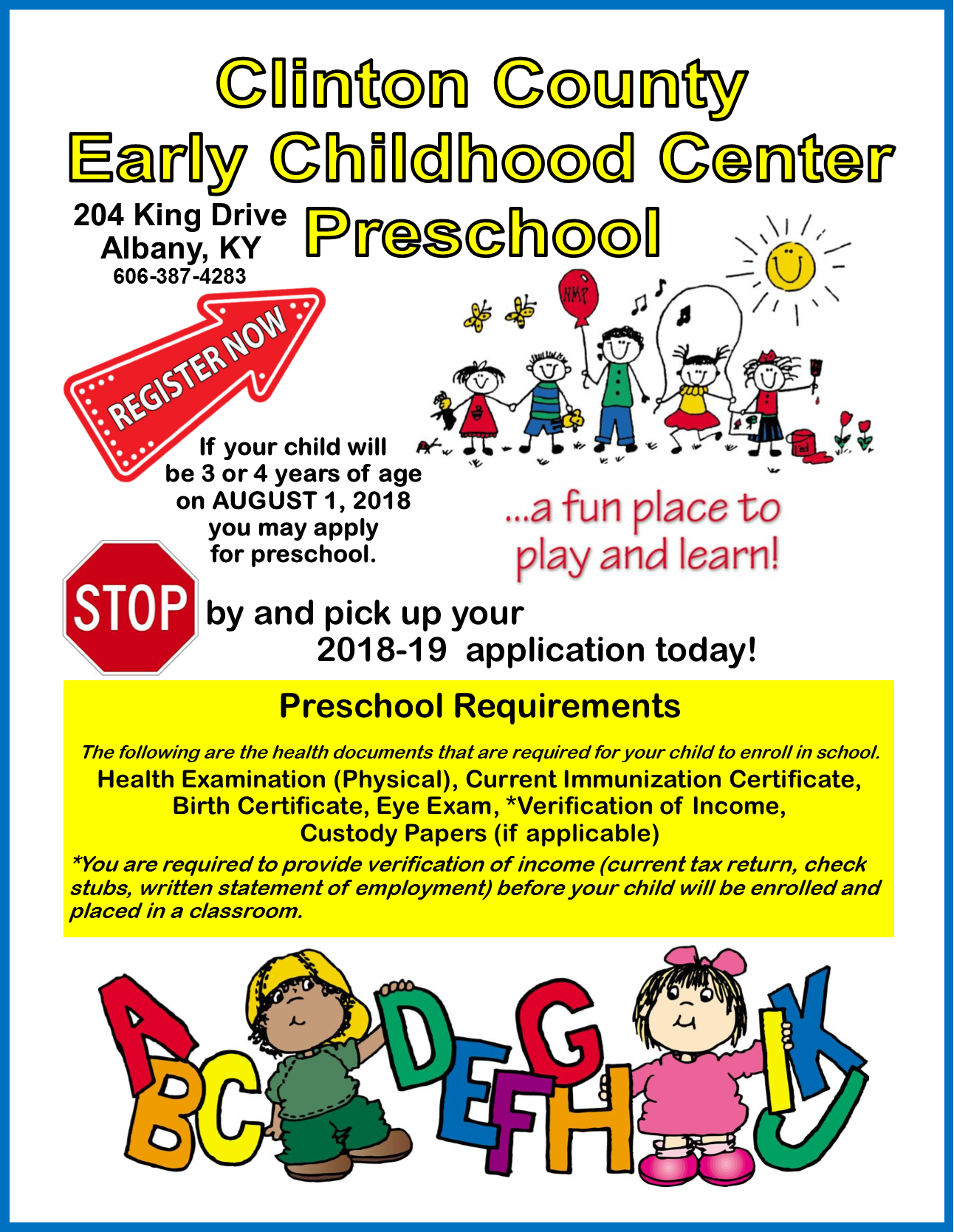 Register now for Preschool!