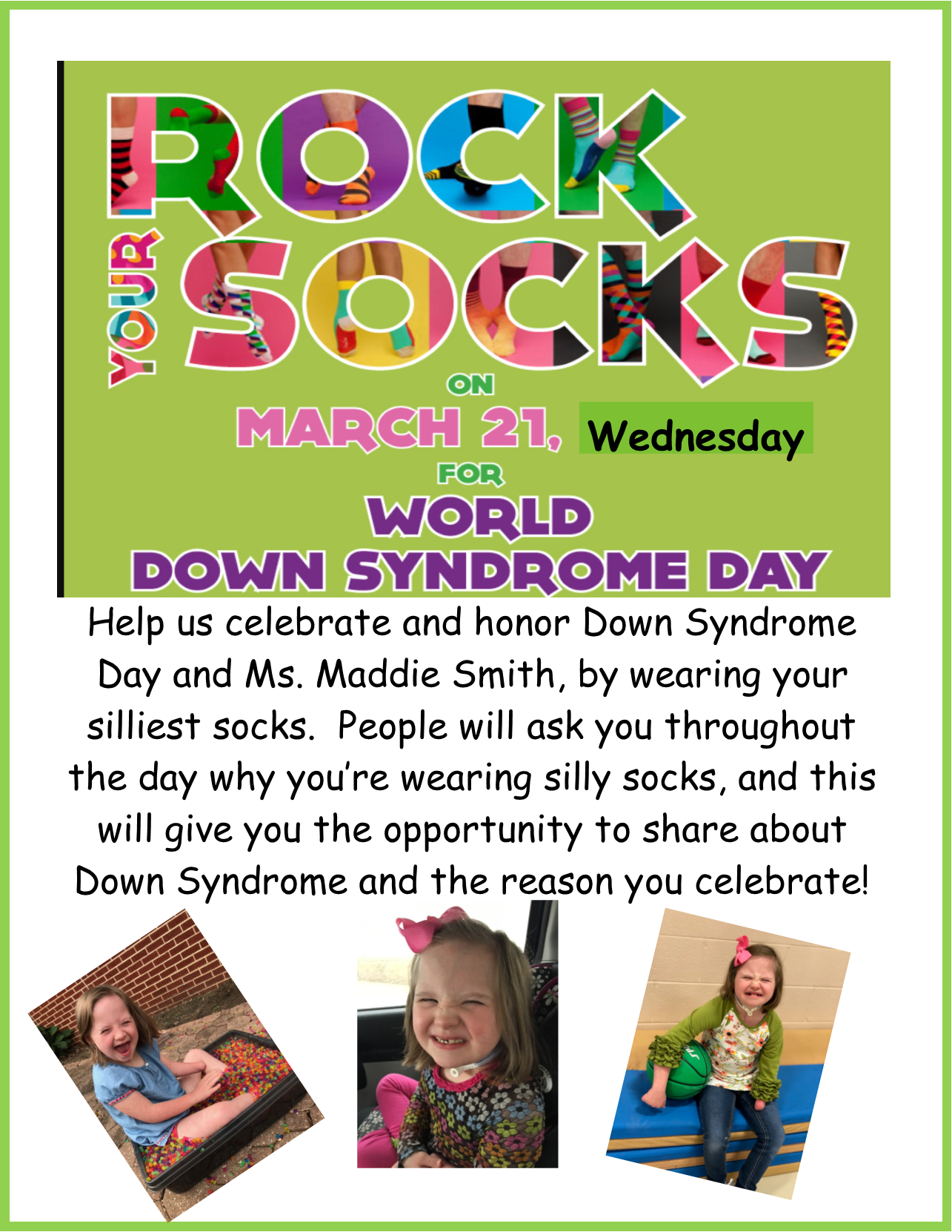 Wear your silliest socks to celebrate World Down Syndrome Day!