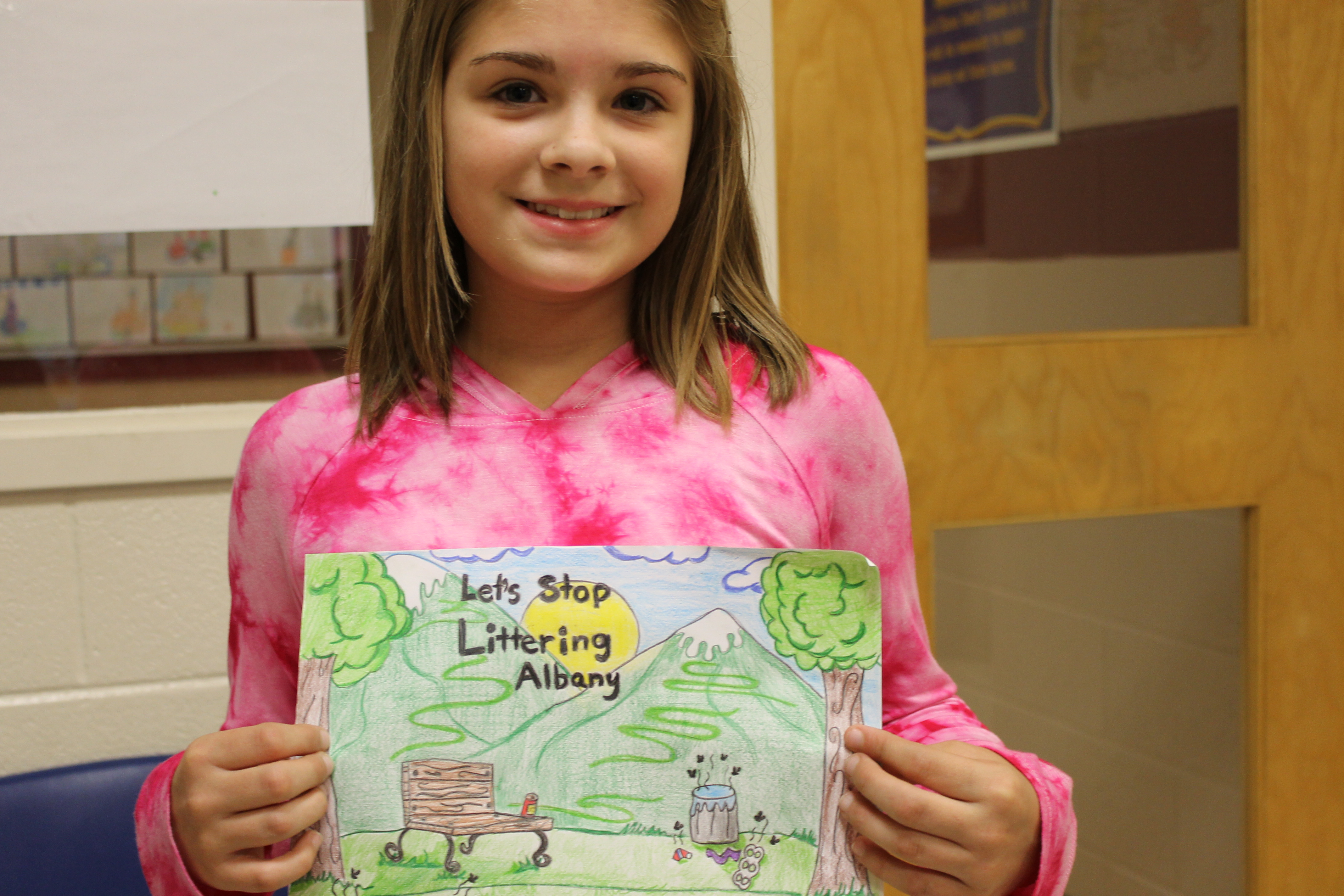 AES student Tressay Stinson was the overall winner of the Stop Littering Albany Poster Contest.